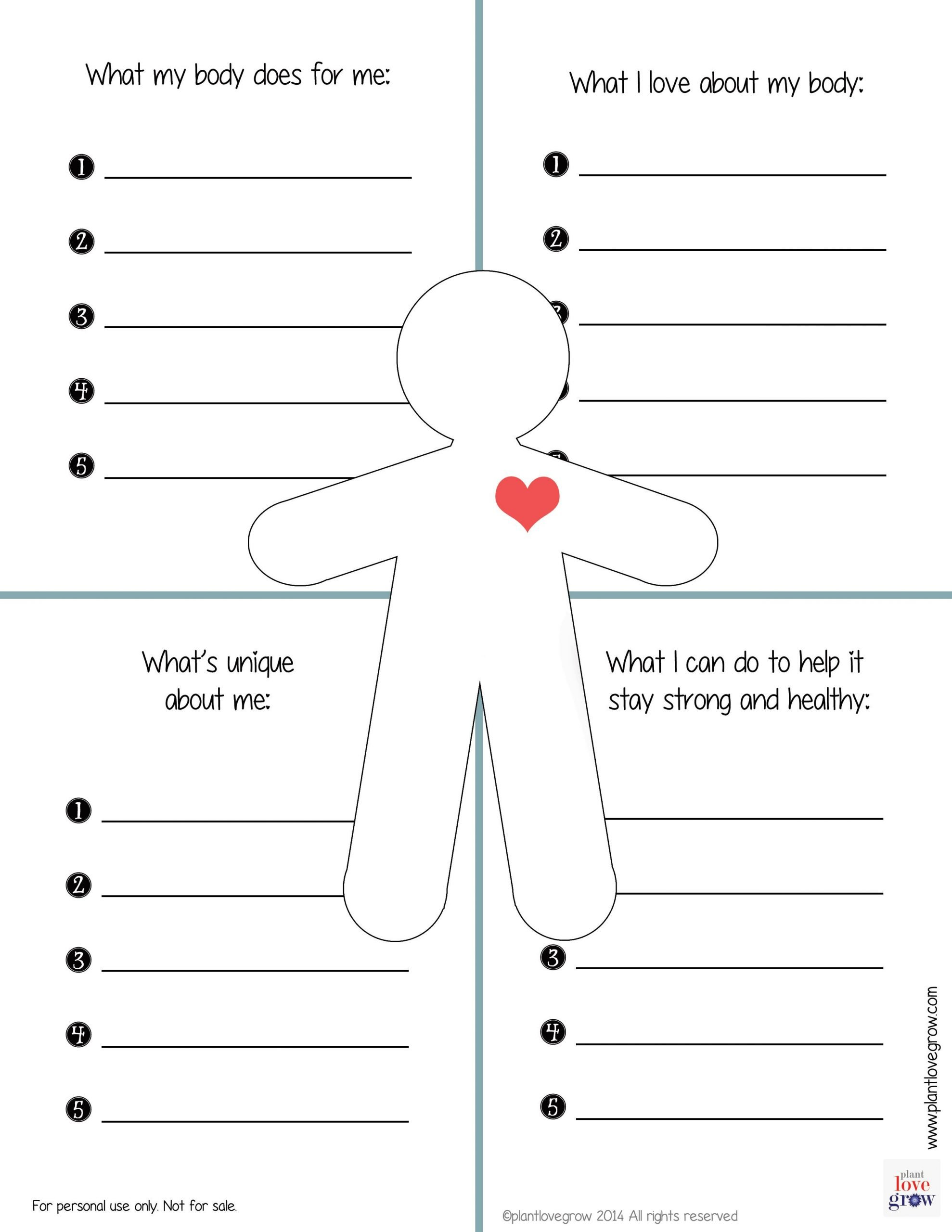 Self Esteem Activities Worksheets What My Body Does for Me What I Love About My Body What S