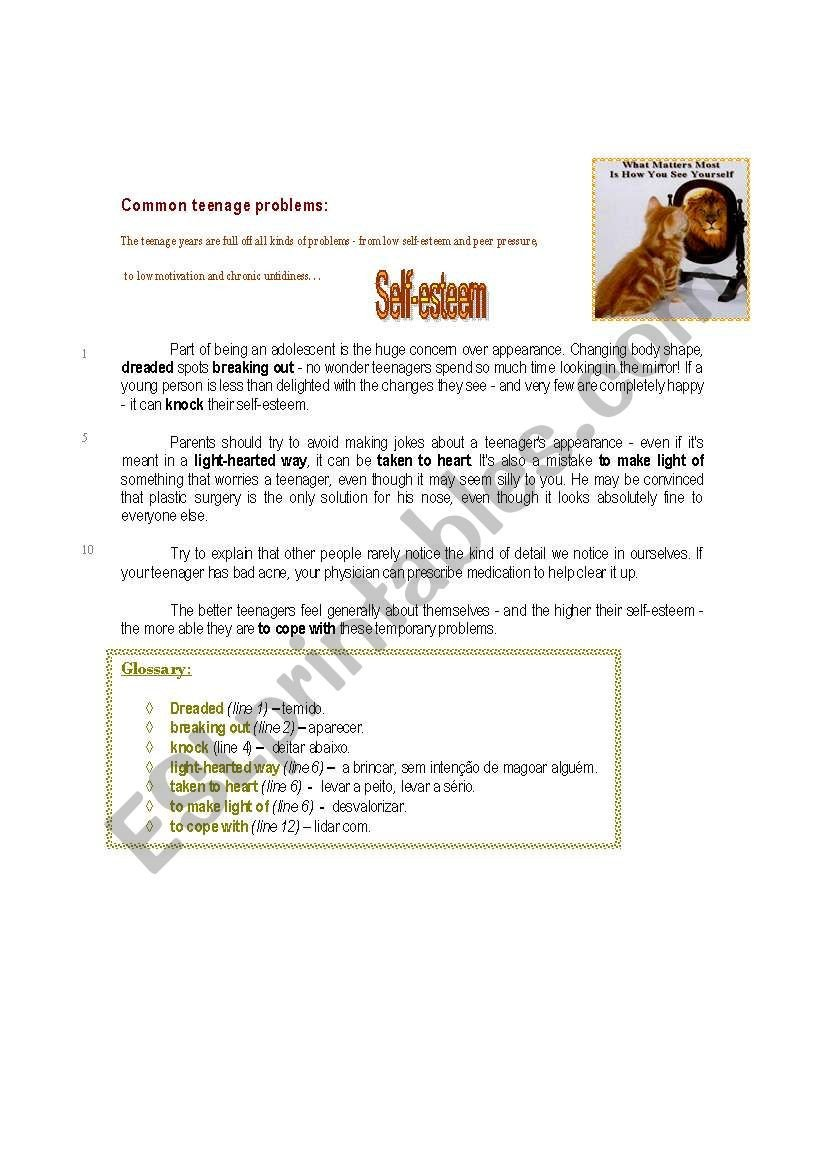 Self Esteem Worksheet for Teens Self Esteem Esl Worksheet by Iris77