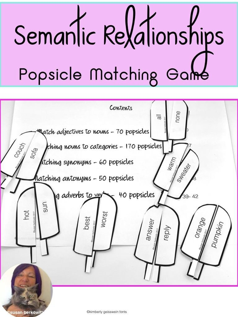 Semantic Relationships Worksheets Parts Of Speech Match Game for Adjectives Adverbs Synonyms