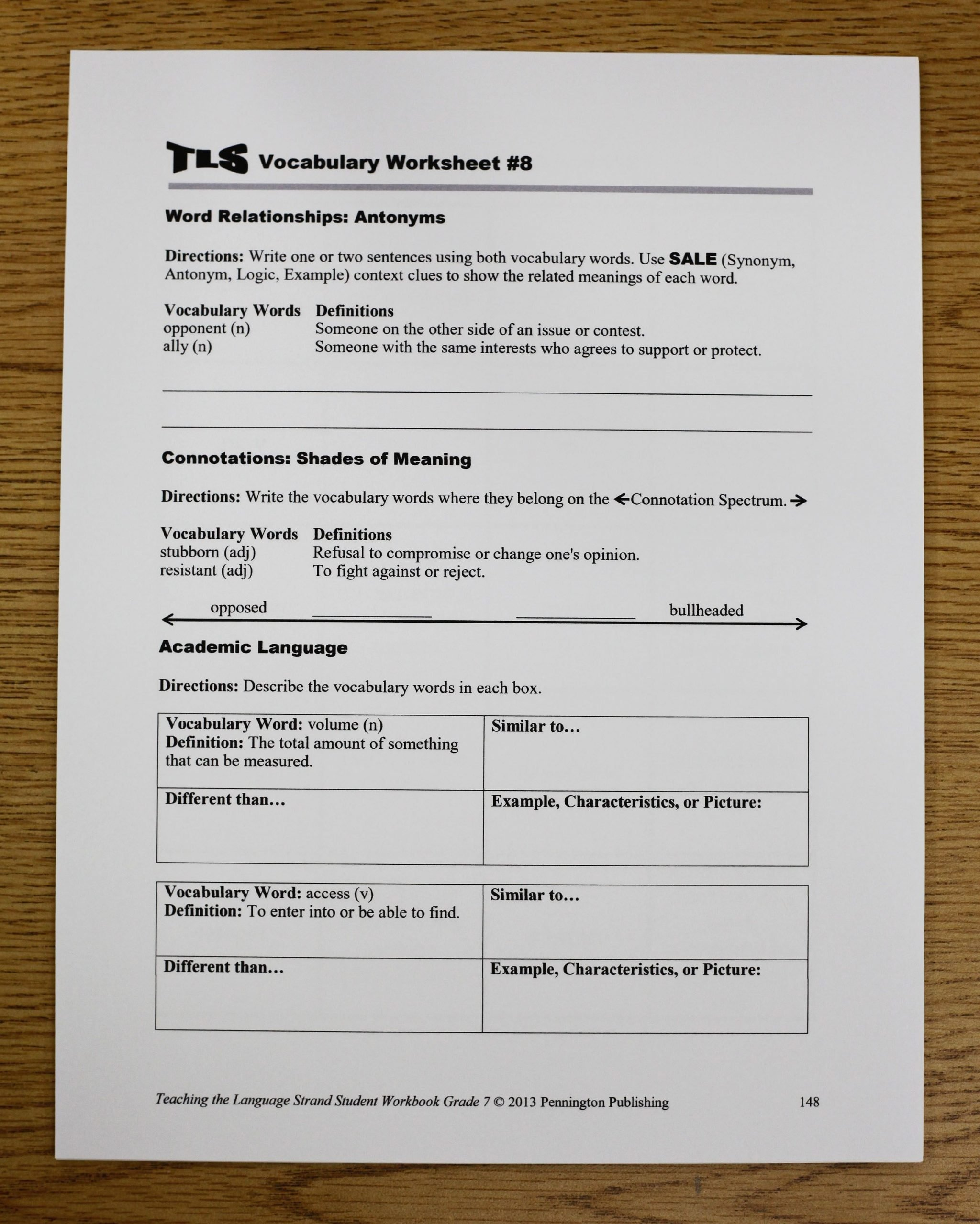 Semantic Relationships Worksheets the Mon Core Vocabulary toolkits Grades 4 5 6 7 and 8