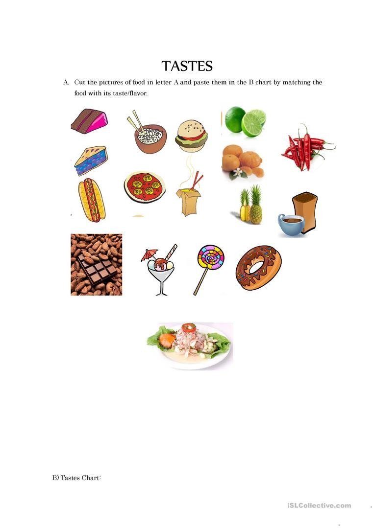 Sense Of Taste Worksheets 5 Senses Tastes English Esl Worksheets for Distance
