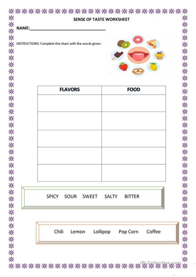 Sense Of Taste Worksheets Sense Of Taste English Esl Worksheets for Distance