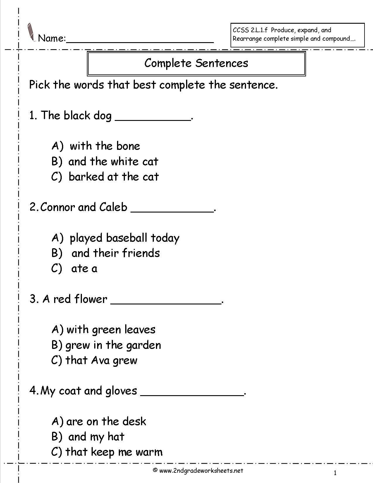Sentence Worksheets First Grade Pin On Educational Worksheets Template