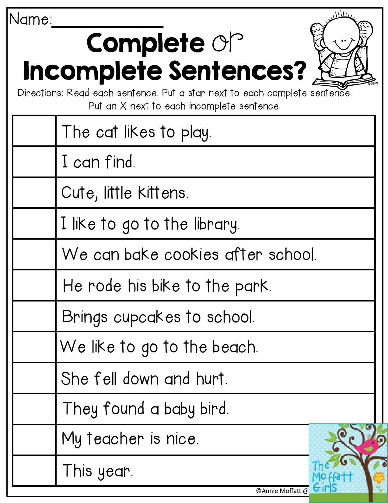 Sentence Worksheets First Grade Plete or In Plete Sentences Read Each Sentence and