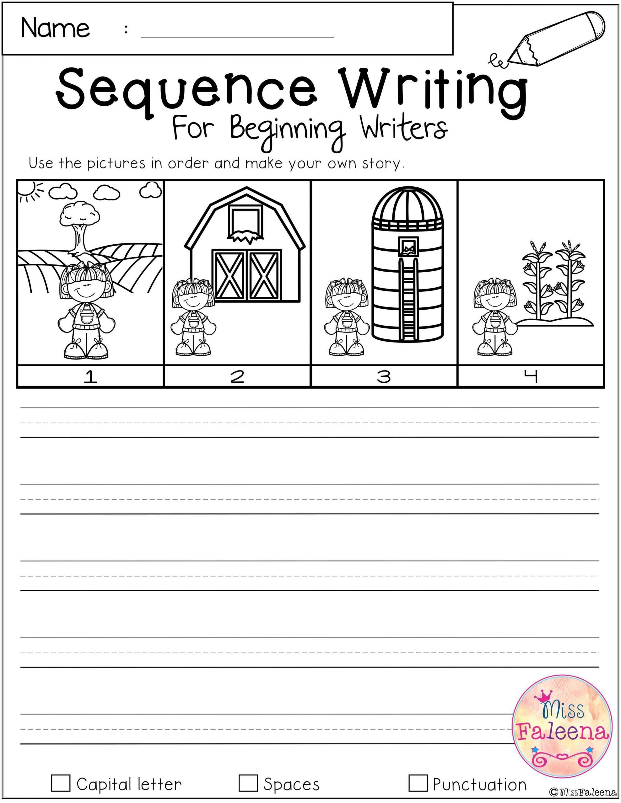 Sequence Worksheets for Kids Free Sequence Writing for Beginning Writers