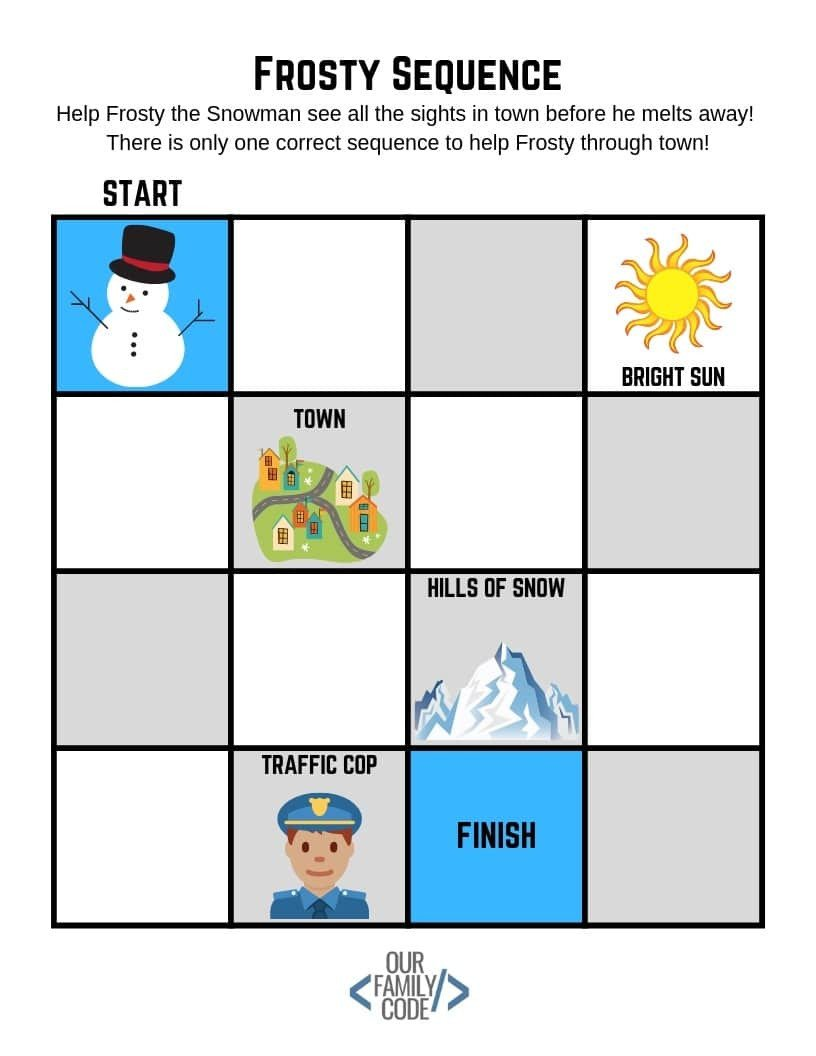 Frosty Sequence unplugged coding activity