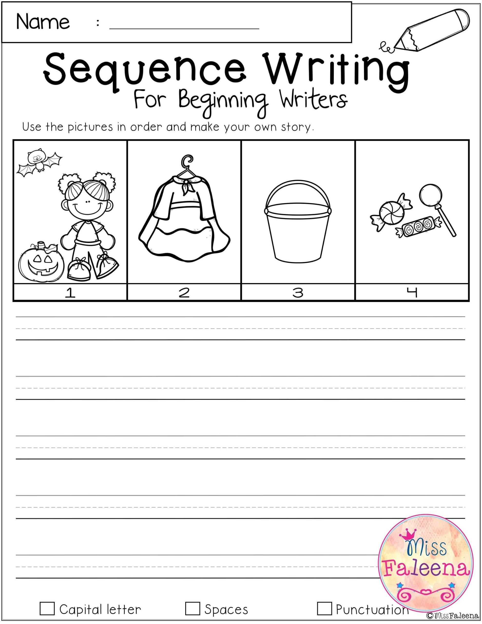 Sequence Worksheets for Kids Worksheet October Sequence Writing for Beginning Writers