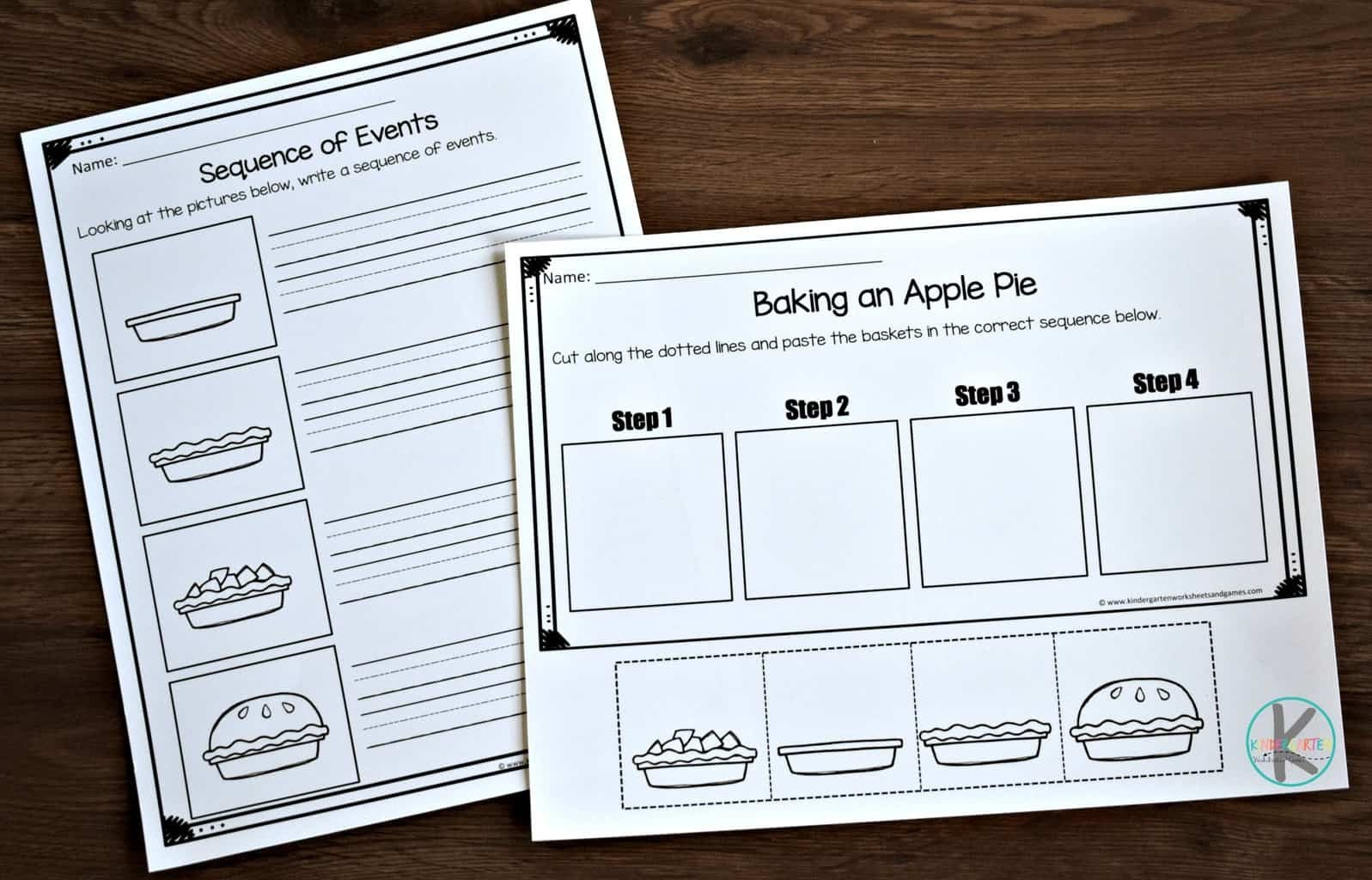 Sequence Worksheets for Kindergarten Fall Sequencing Worksheets