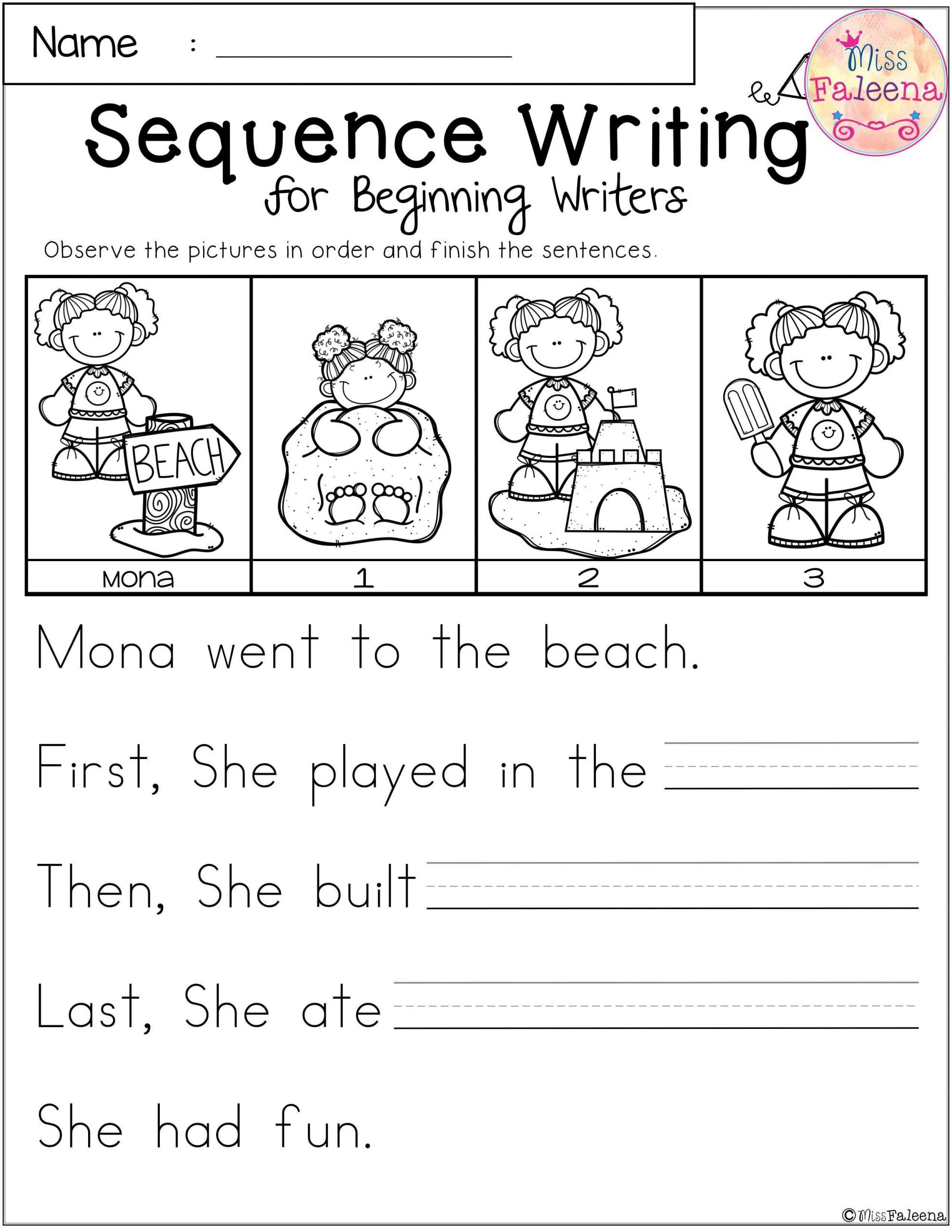 Sequence Worksheets for Kindergarten Free Sequence Writing for Beginning Writers