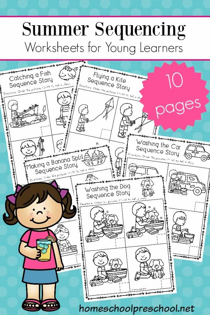Sequence Worksheets for Kindergarten Free Sequencing Worksheets for Summer Learning Cards Math