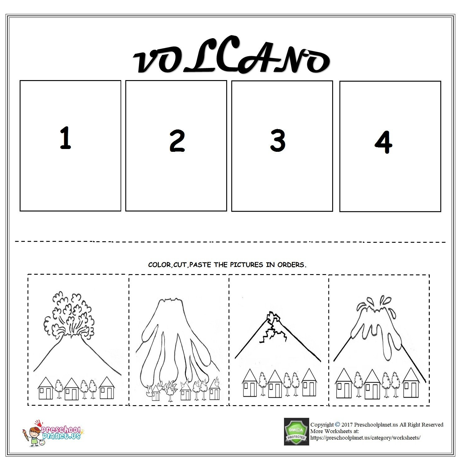 Sequence Worksheets for Kindergarten Volcano Sequencing Worksheet for Kids – Preschoolplanet