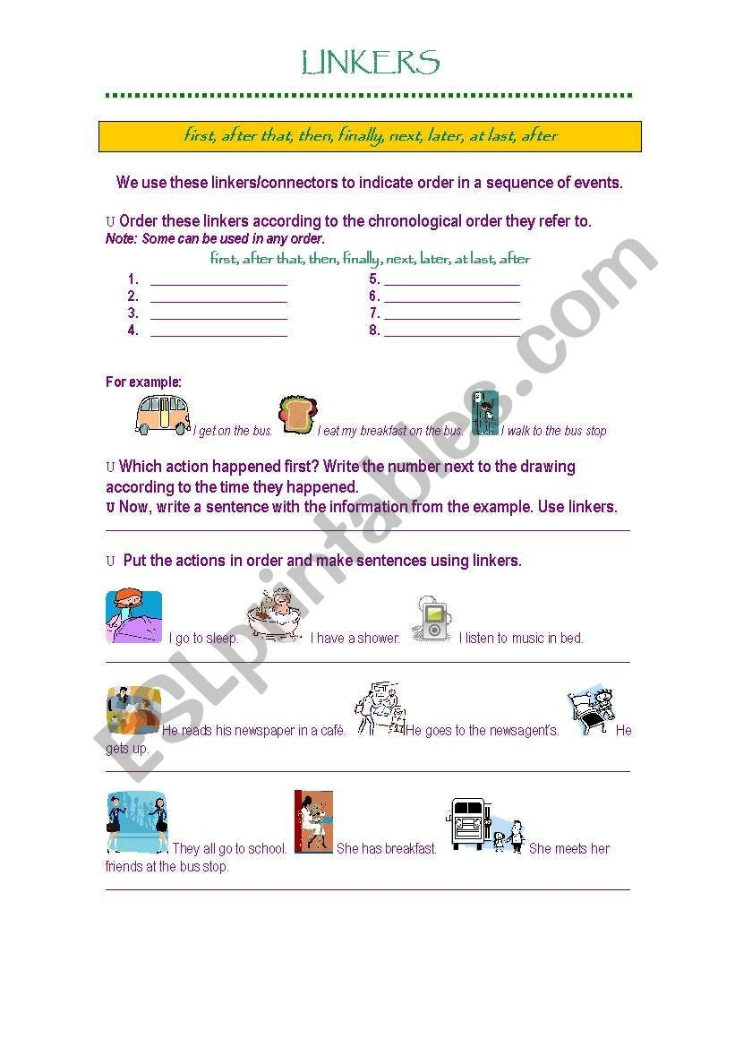 Sequencing events Worksheet Linkers Sequence Of events Esl Worksheet by Gisel