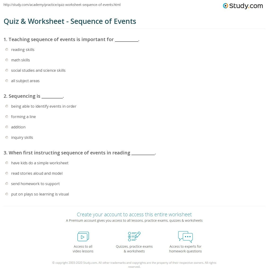 quiz worksheet sequence of events study