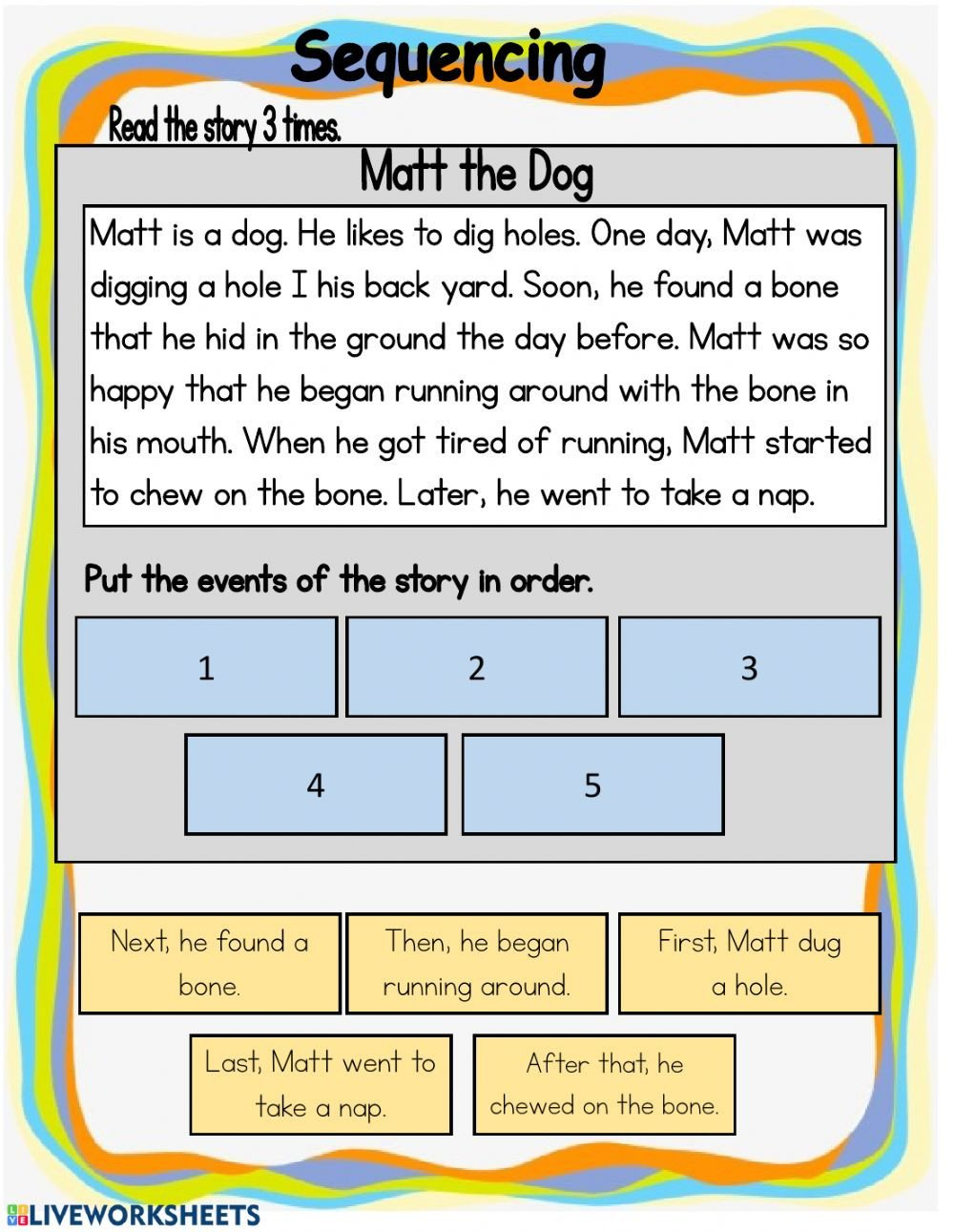 Sequencing events Worksheets Sequencing Interactive Worksheet