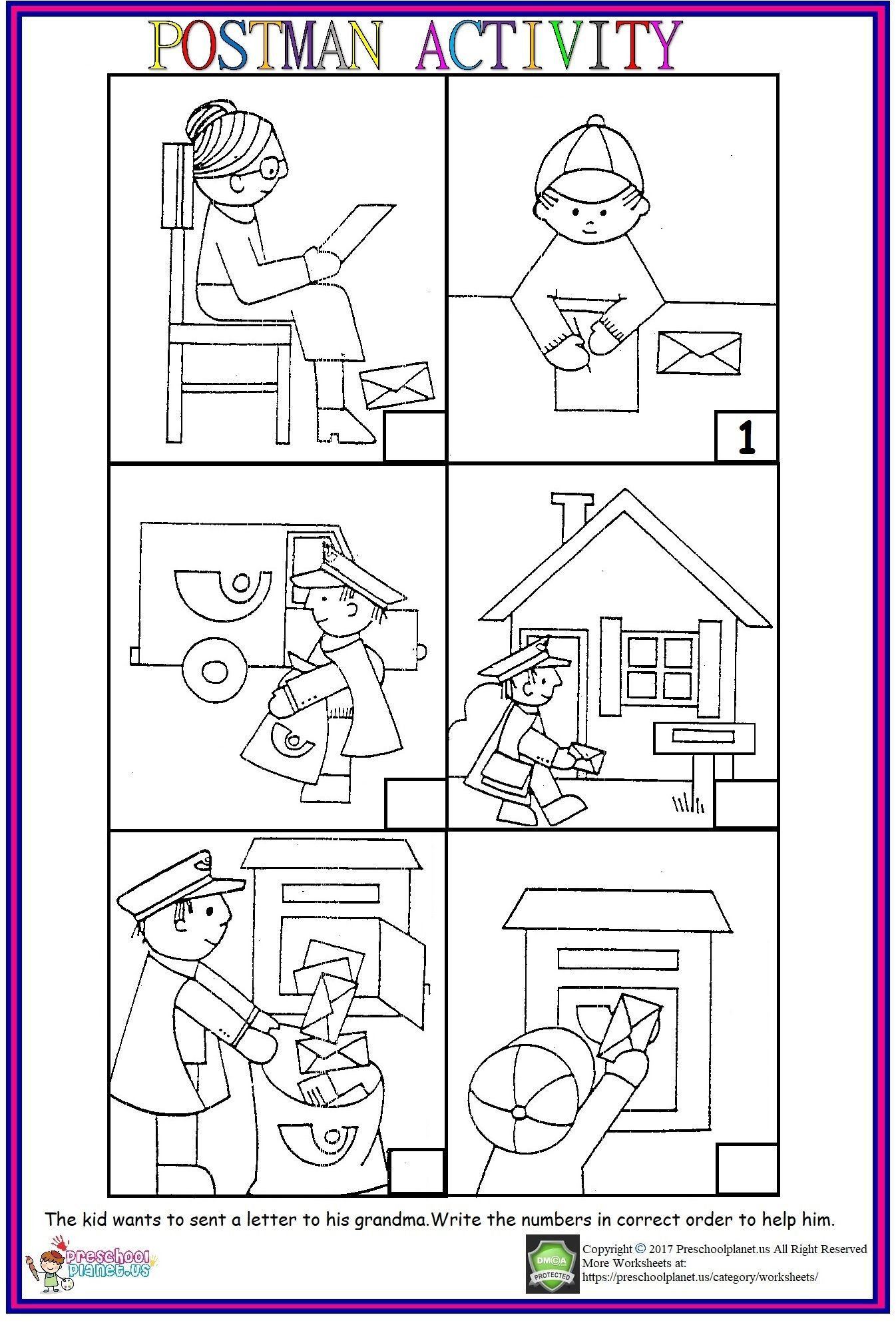 Sequencing Pictures Worksheet Postman Sequencing Worksheet