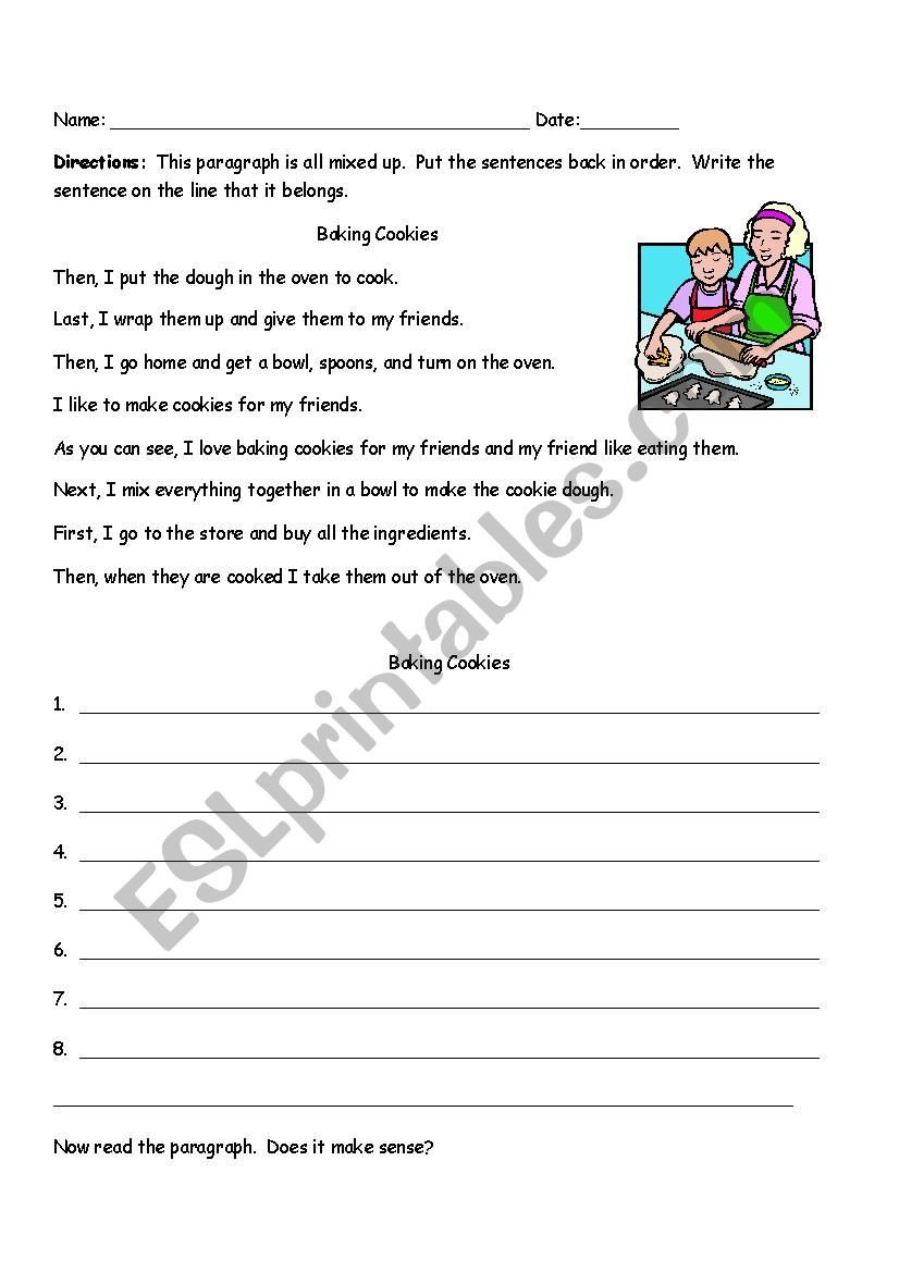 Sequencing Pictures Worksheet Sequencing Paragraph Baking Cookies Esl Worksheet by