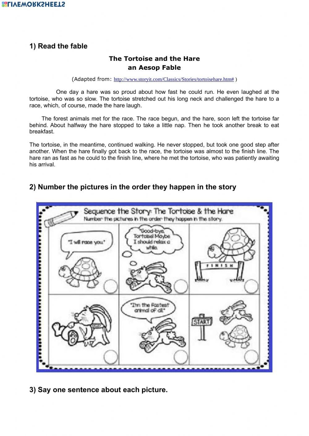 Sequencing Pictures Worksheet the tortoise and the Hare Picture Sequencing Interactive