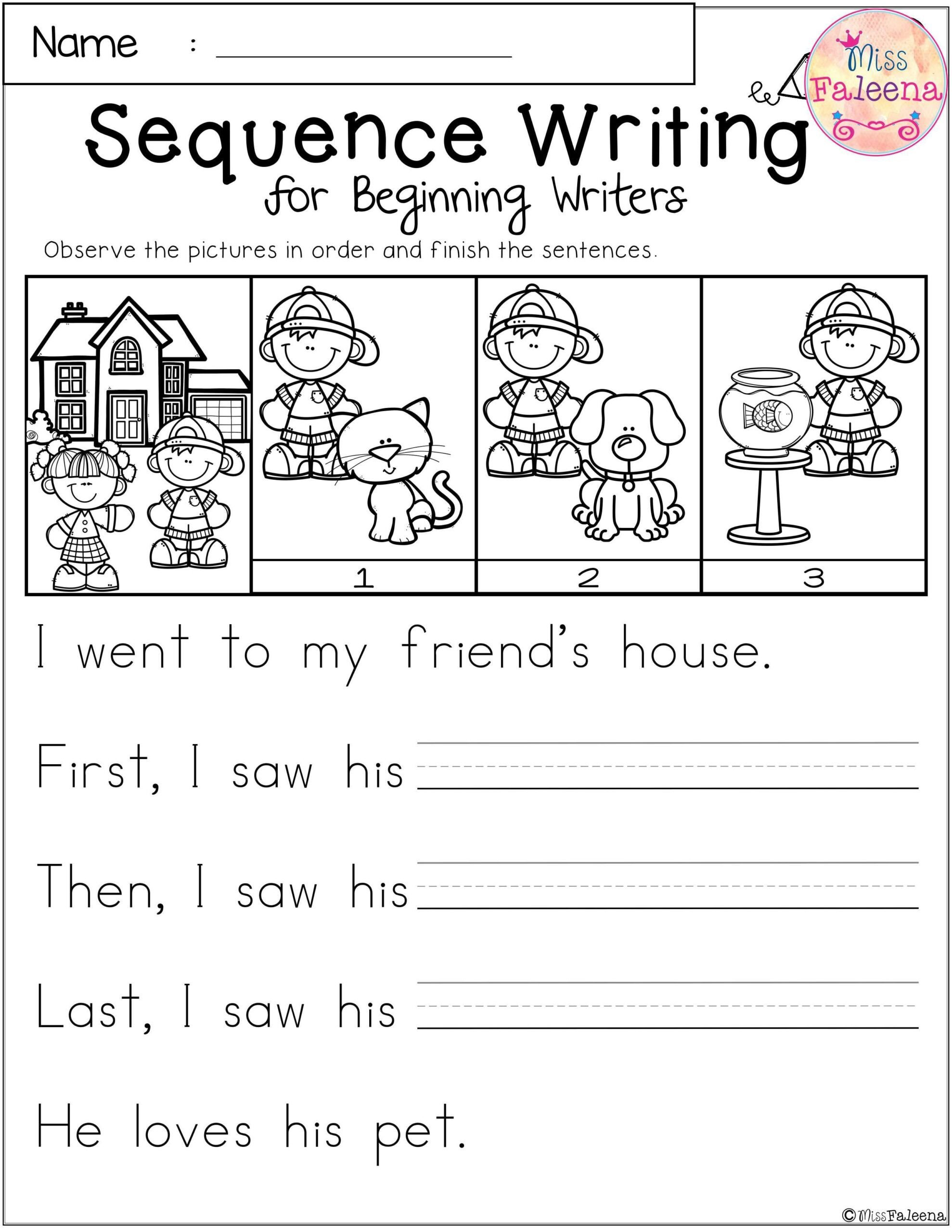 free sequence writing for beginning writers sequencing worksheets math activities grade scaled