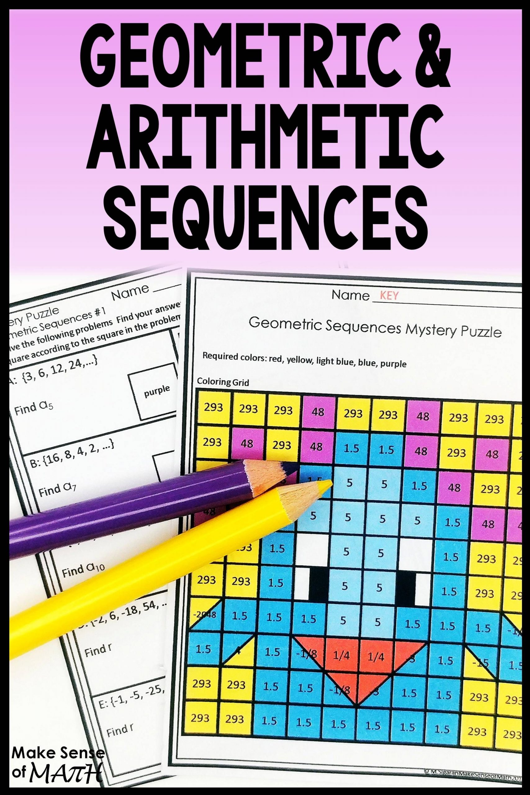 Sequencing Worksheets Middle School Geometric Sequences Activity and Arithmetic Sequences
