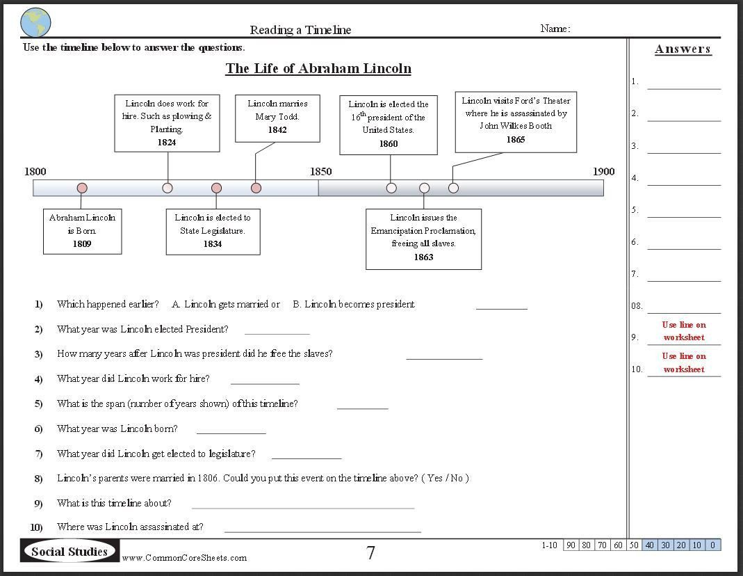 Sequencing Worksheets Middle School Timeline Worksheets