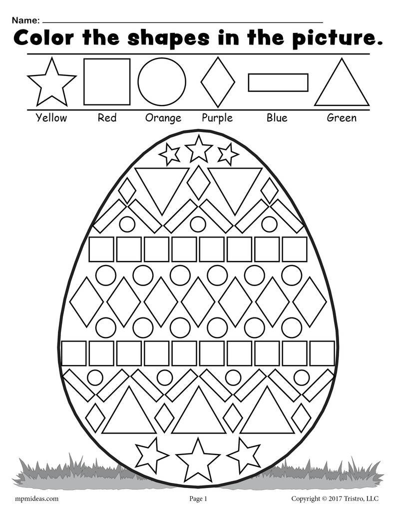 Shapes Worksheets 1st Grade Easter Egg Shapes Worksheet & Coloring Page