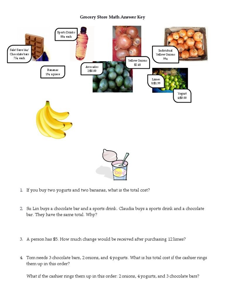 grocery shopping math worksheets