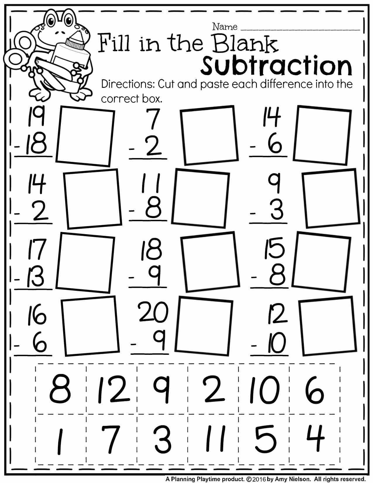 Short A Worksheet First Grade Free Math Worksheets First Grade Subtraction Single Digit