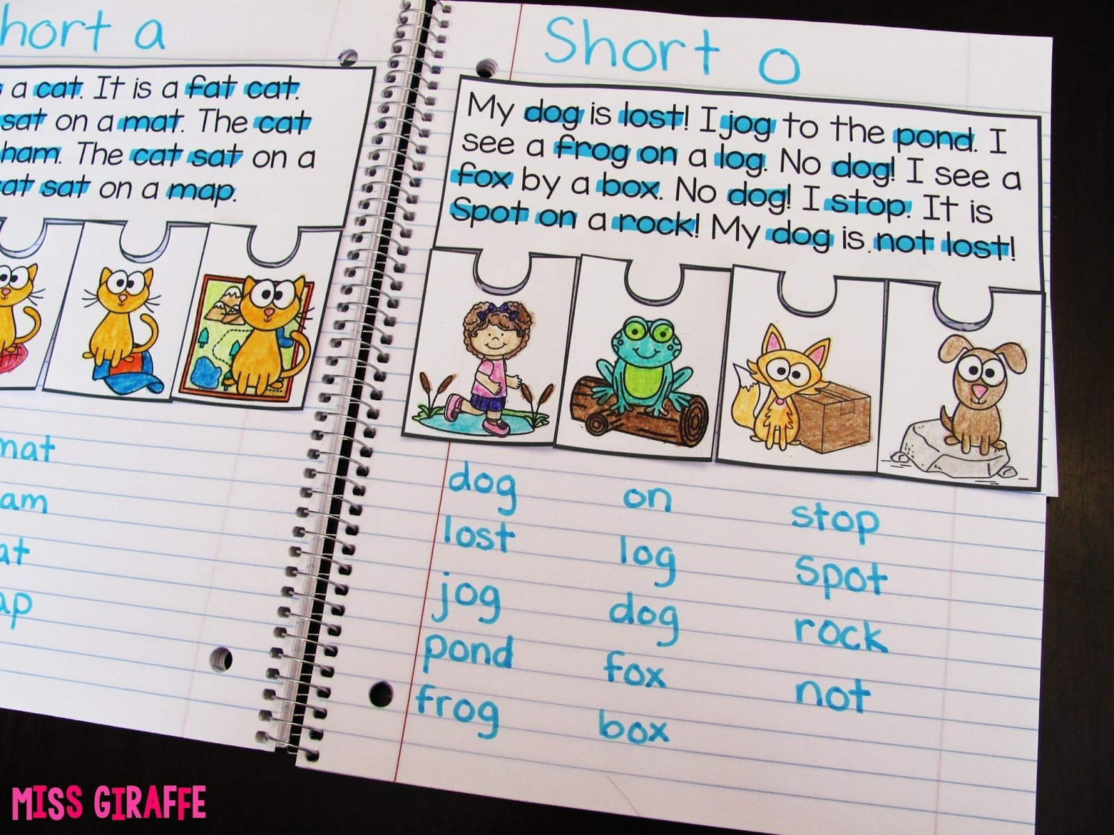 Short A Worksheet First Grade Miss Giraffe S Class Phonics Fluency Notebooks