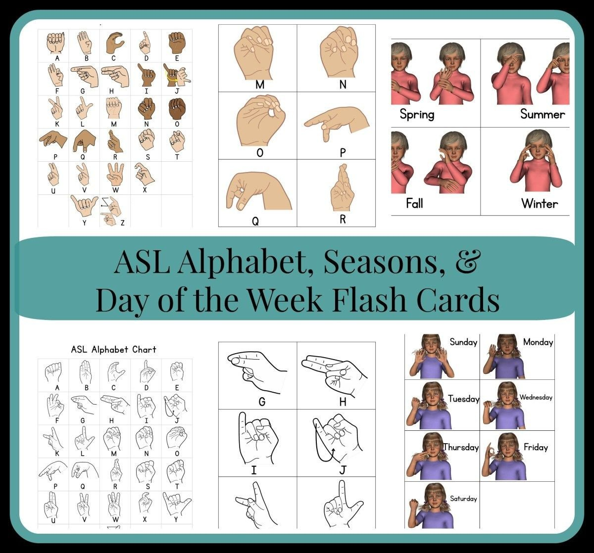 Sign Language Worksheets for Kids asl Flash Cards as they Grow Up