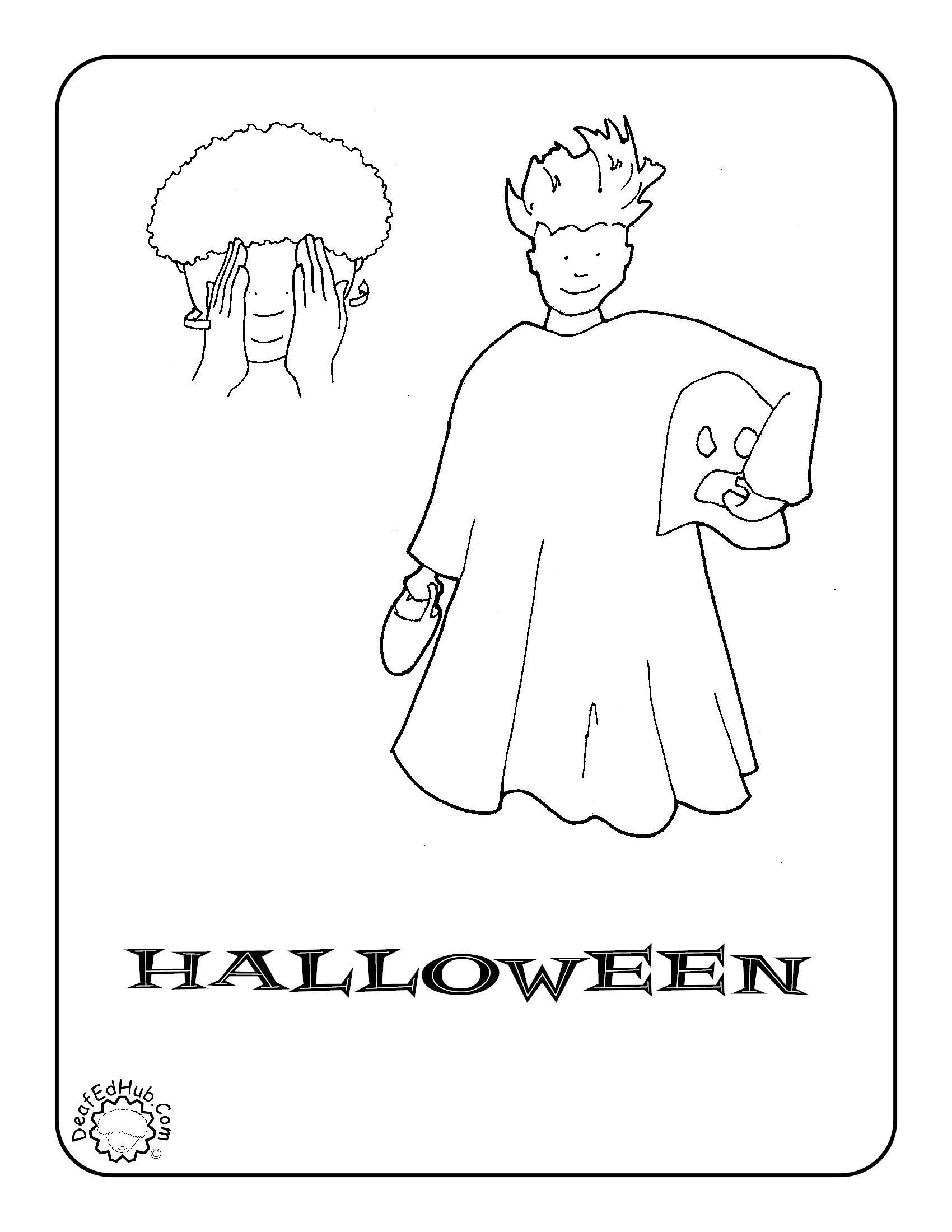 Sign Language Worksheets for Kids Halloween Coloring Sign Language for Kids asl Practice