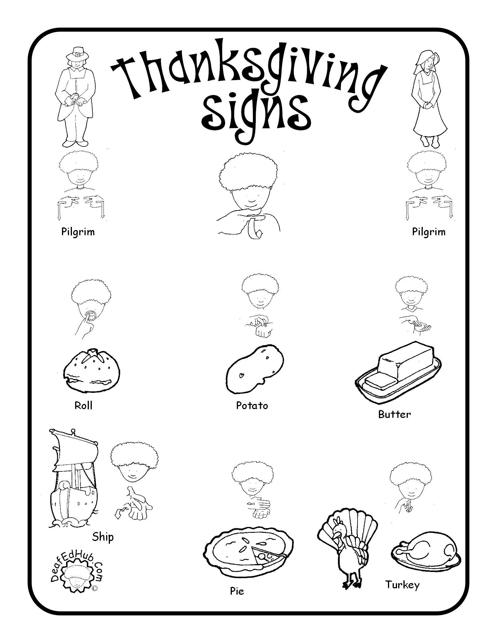 Sign Language Worksheets for Kids Thanksgiving Sign Language Words