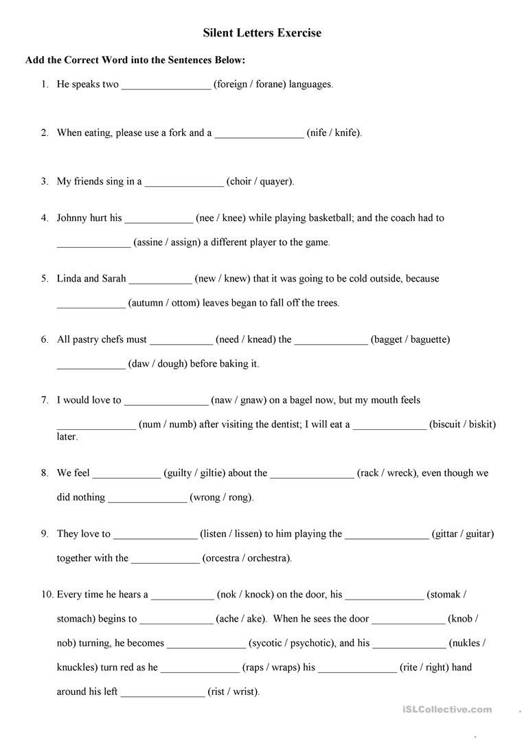 Silent Letters Worksheets English Silent Letters Excercise English Esl Worksheets