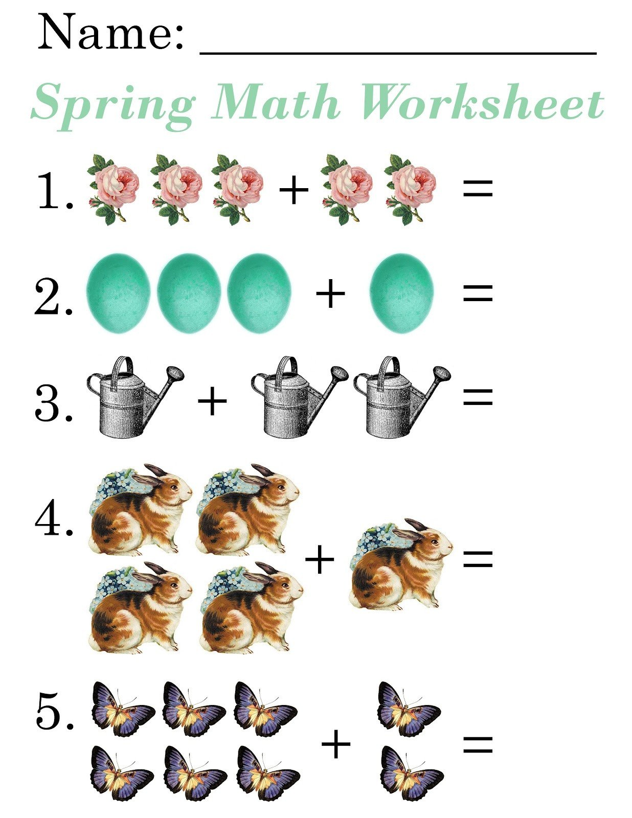 Simple Addition Worksheets for Kindergarten Lilac Lavender Kids Spring Math Worksheets for Simple