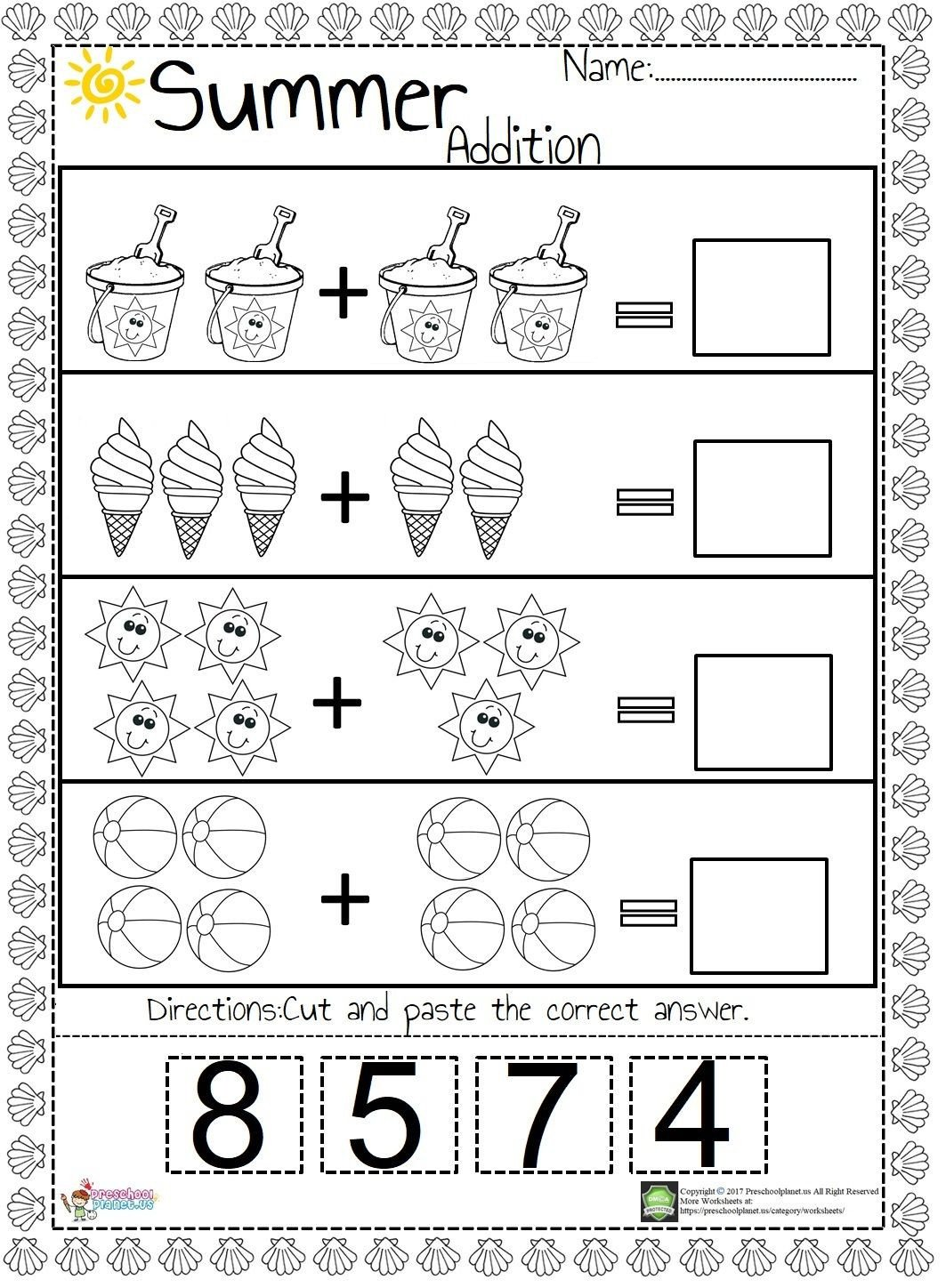 Simple Addition Worksheets for Kindergarten We Prepared An Easy and Funny Summer themed Addition