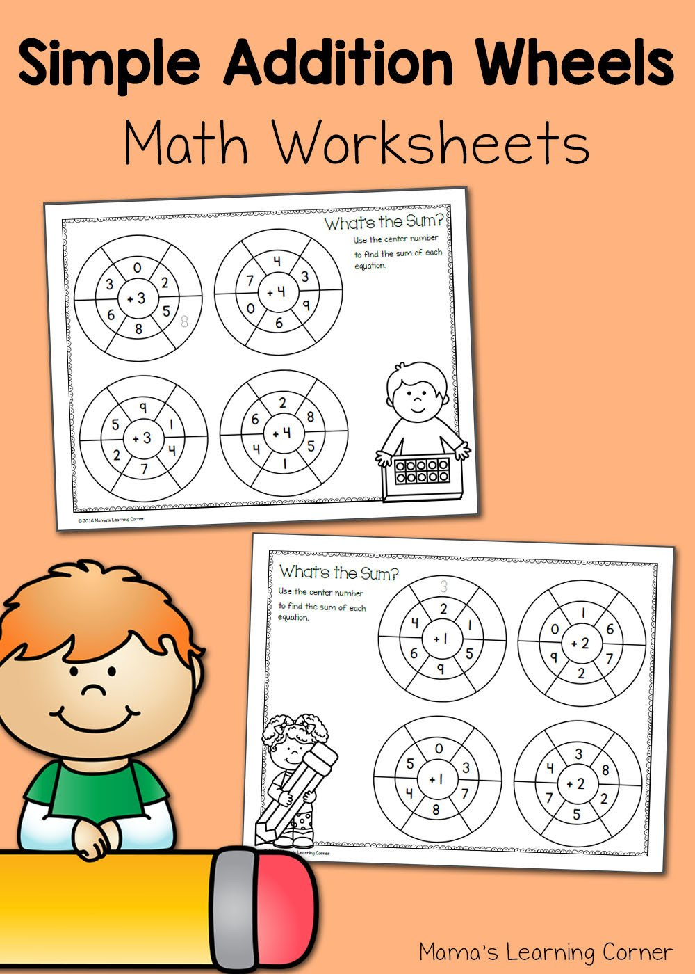 Simple Addition Worksheets with Pictures Simple Addition Wheels Math Worksheets Mamas Learning Corner