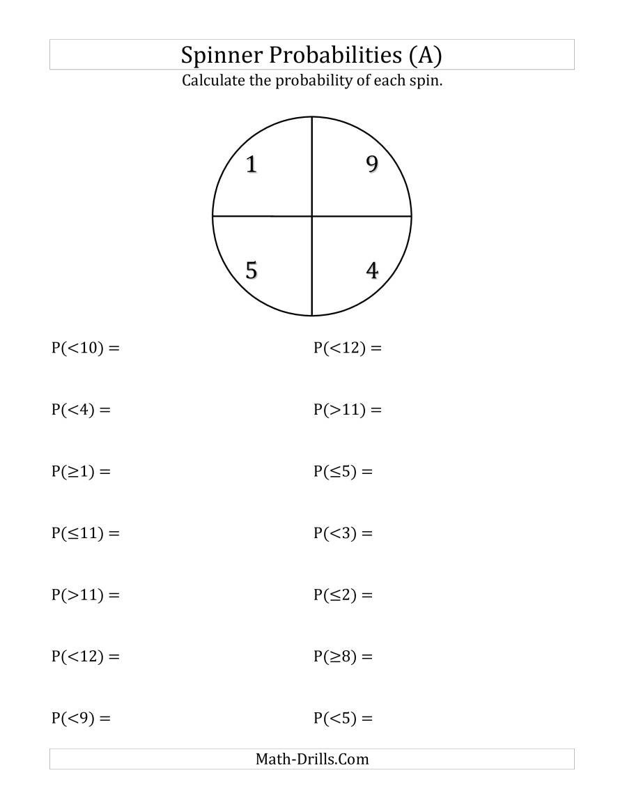 Simple Probability Worksheets Pdf 4 Section Spinner Probabilities A