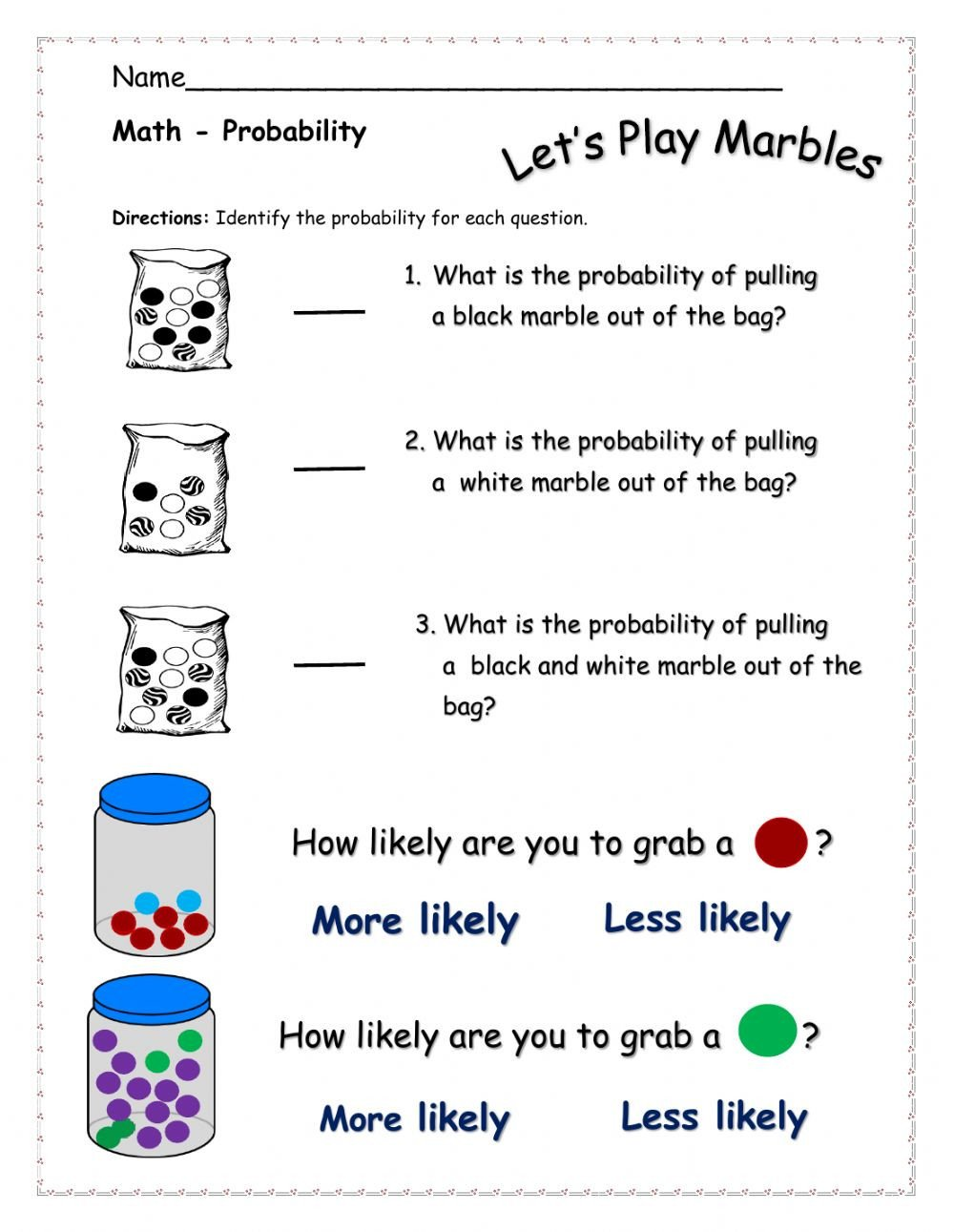 Simple Probability Worksheets Pdf Probability Interactive Worksheet