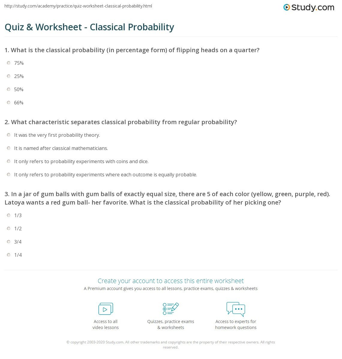 quiz worksheet classical probability