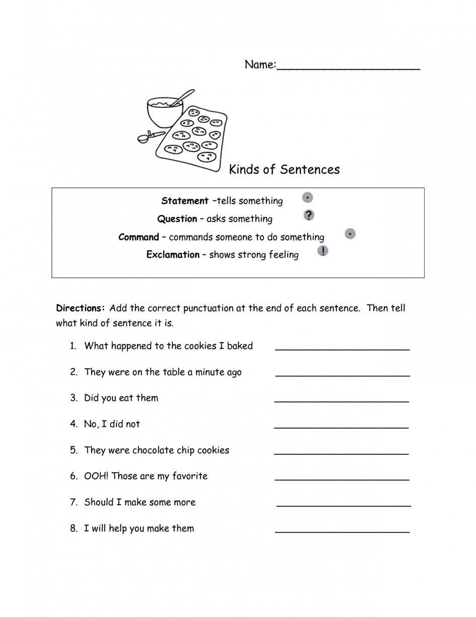 types of sentences worksheets to educations