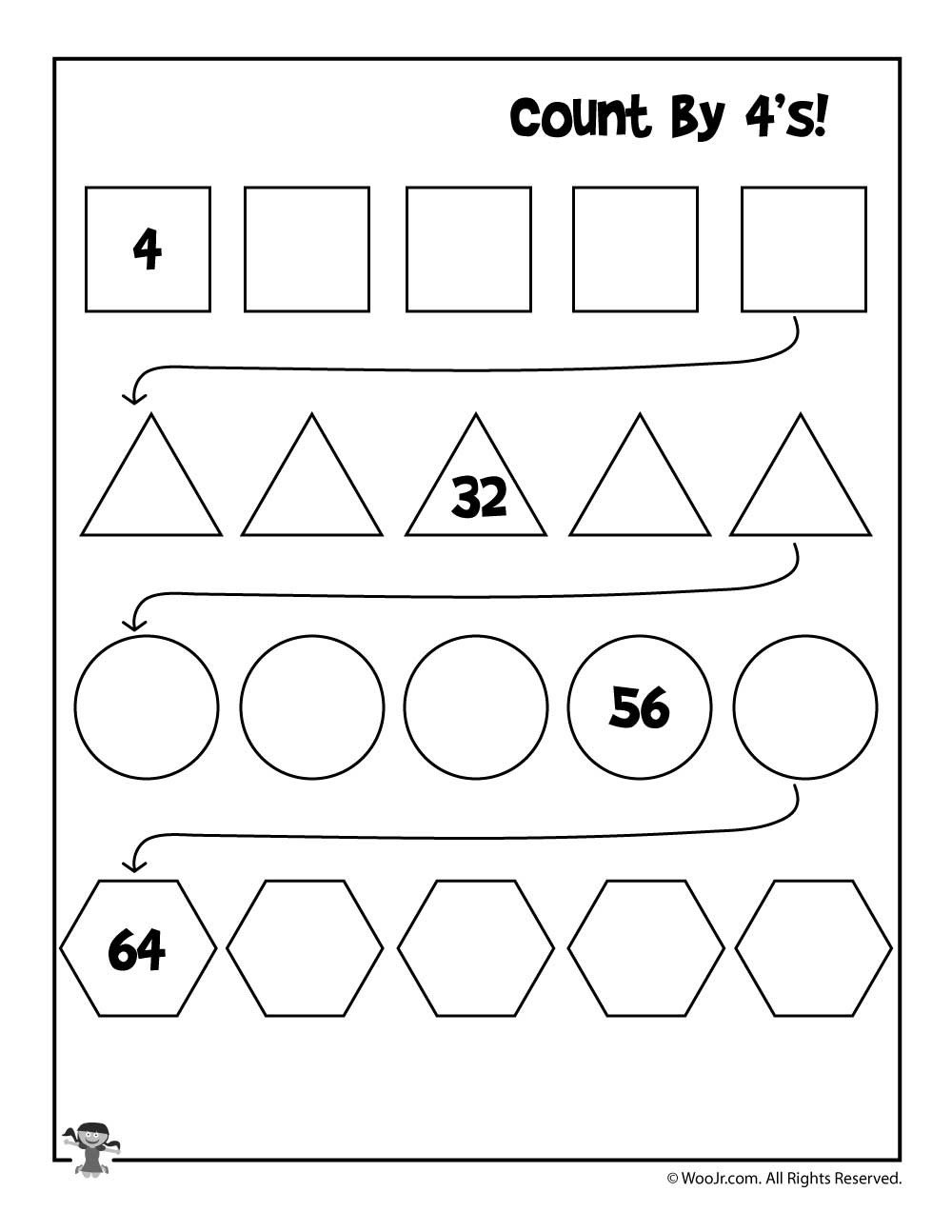skip counting worksheets 4s