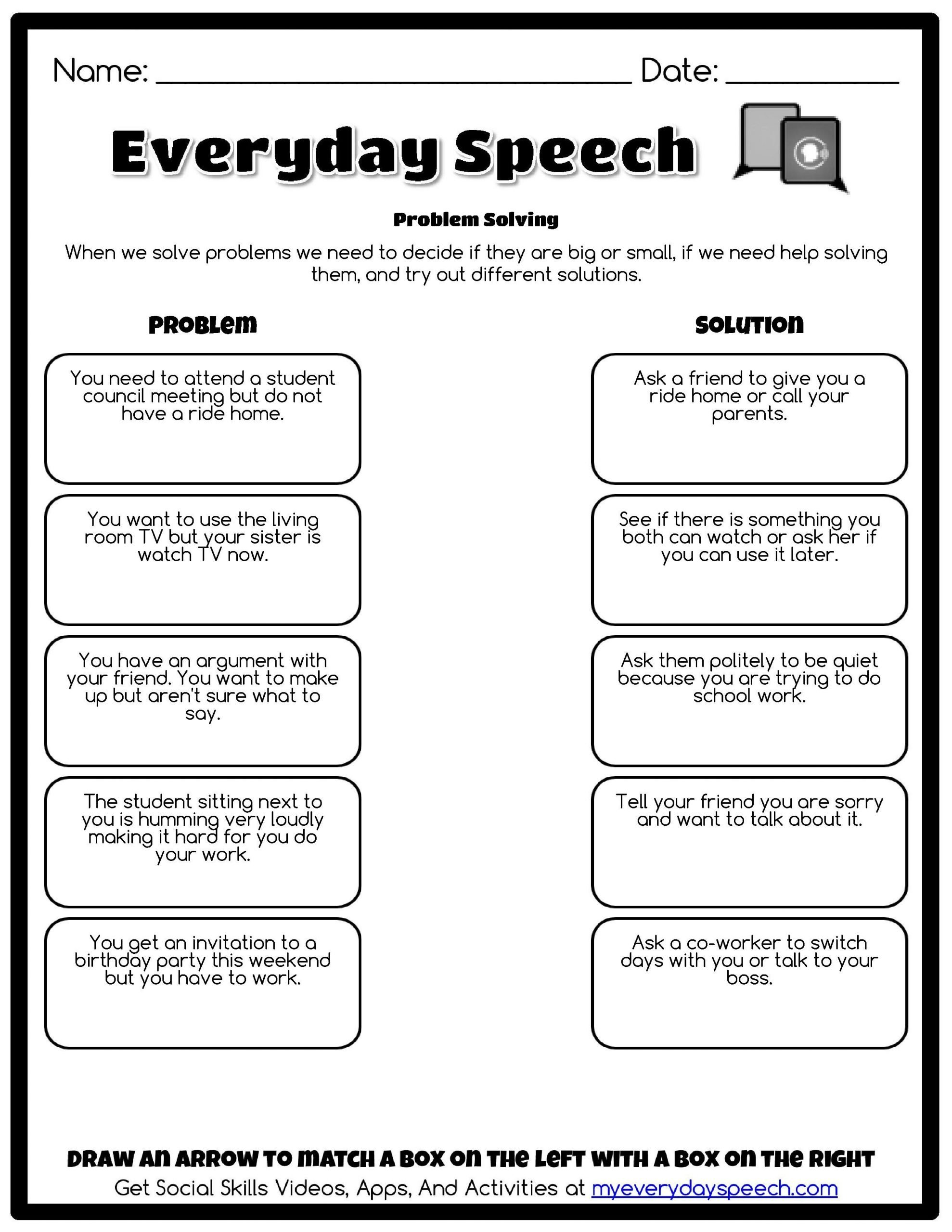 Social Skills Training Worksheets Problem solving Everyday Speech