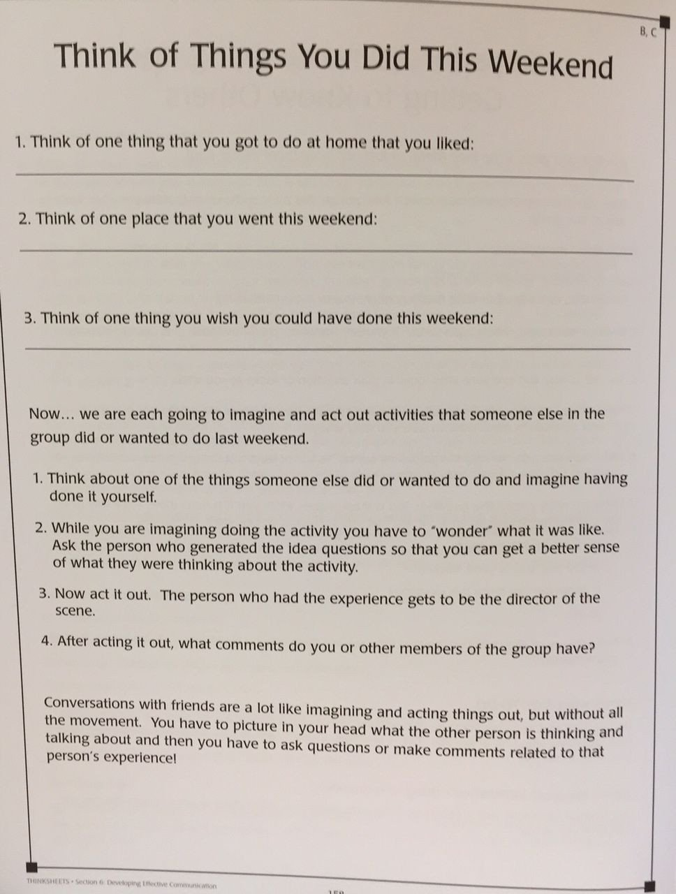 Social Skills Training Worksheets Think Of Things You Did This Weekend Free Worksheet