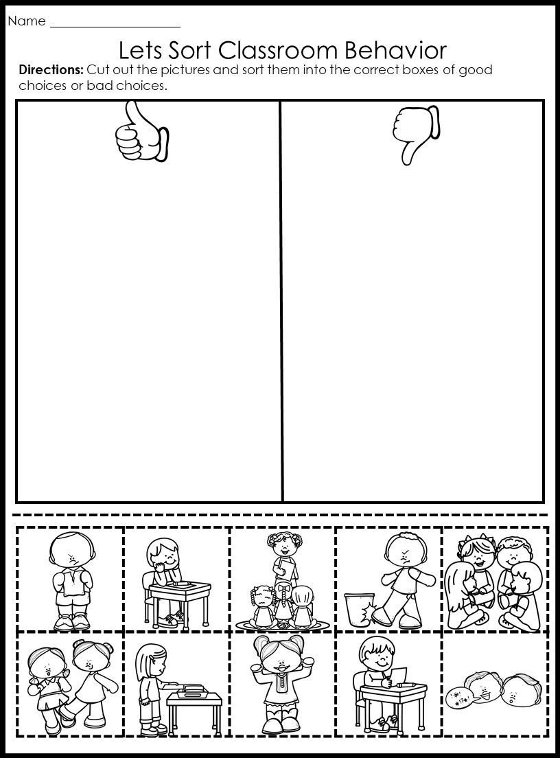 Social Skills Worksheets for Kindergarten Behavior Picture sorts Back to School