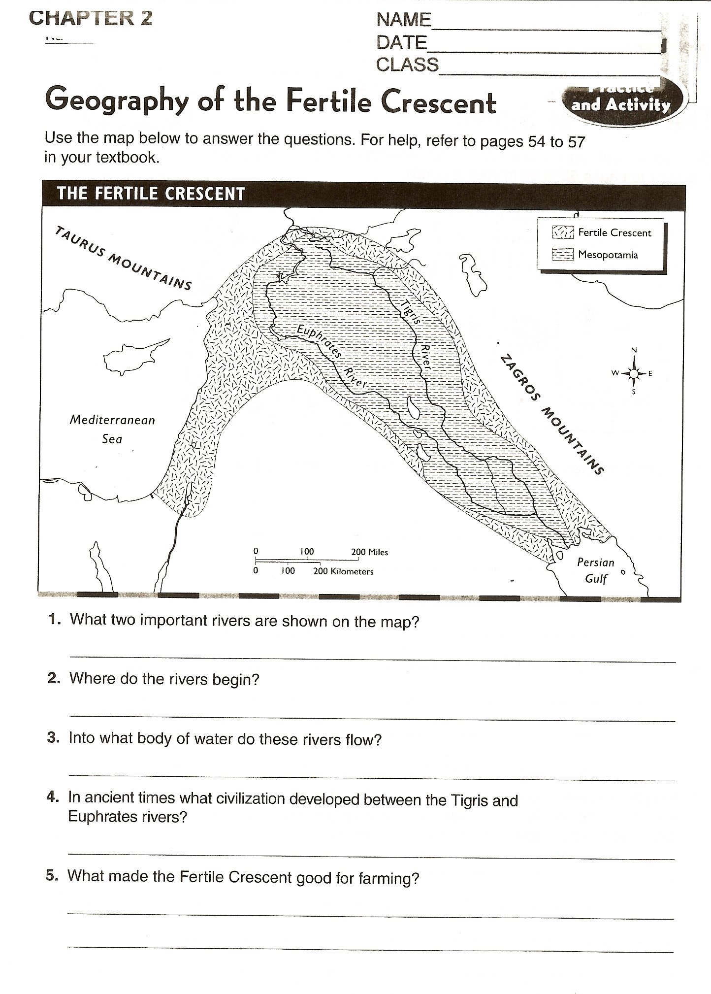 geography worksheets 6th grade