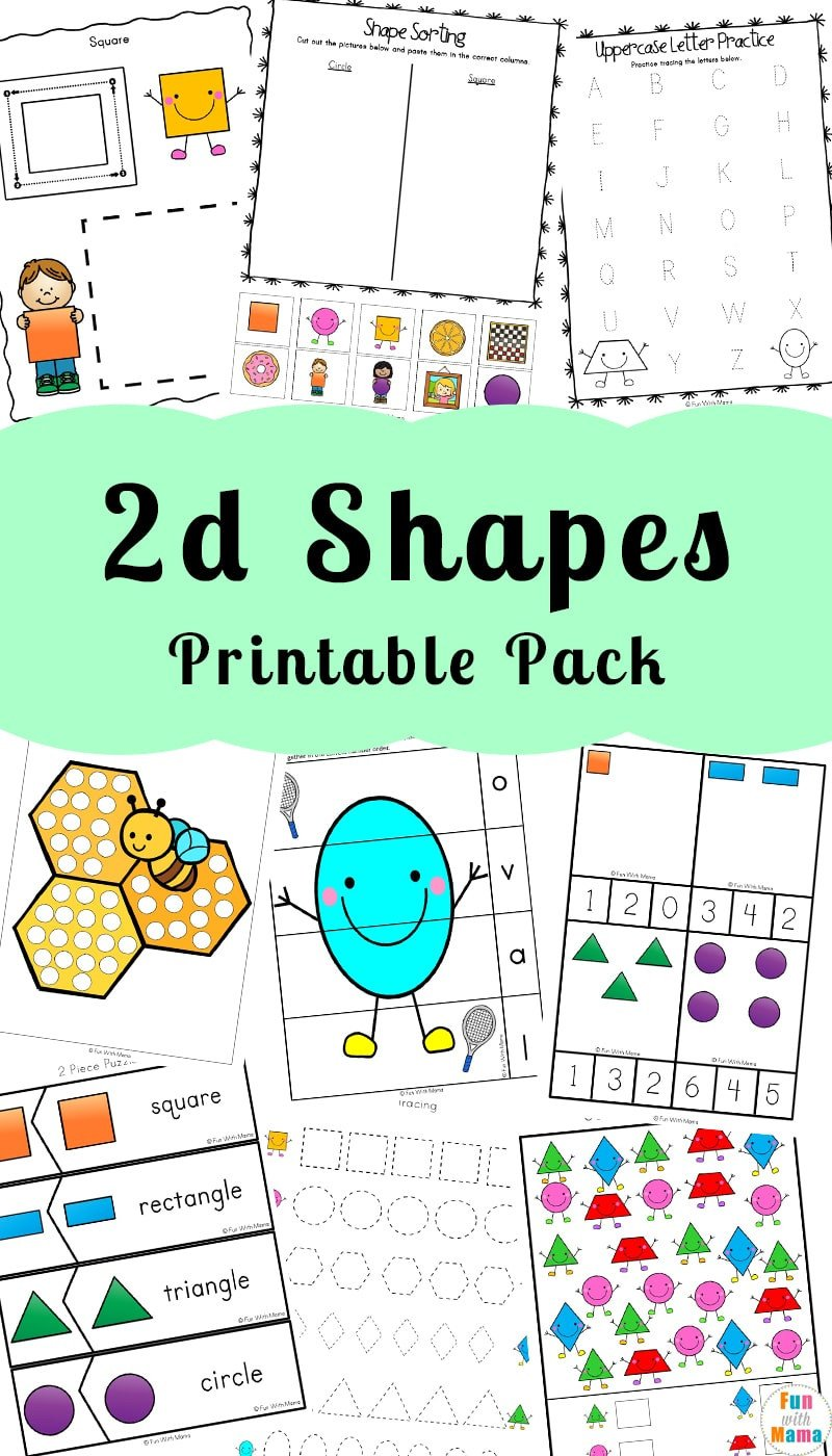 Sorting Shapes Worksheets 2d Shapes Worksheeets Fun with Mama