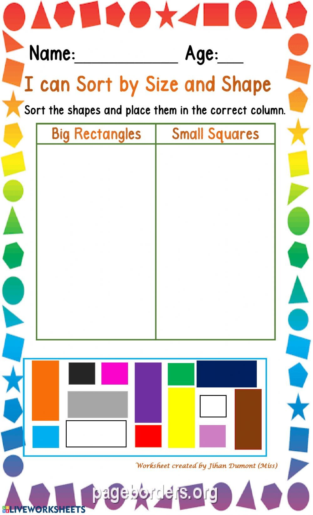Sorting Shapes Worksheets Classification Of Size and Shape Interactive Worksheet