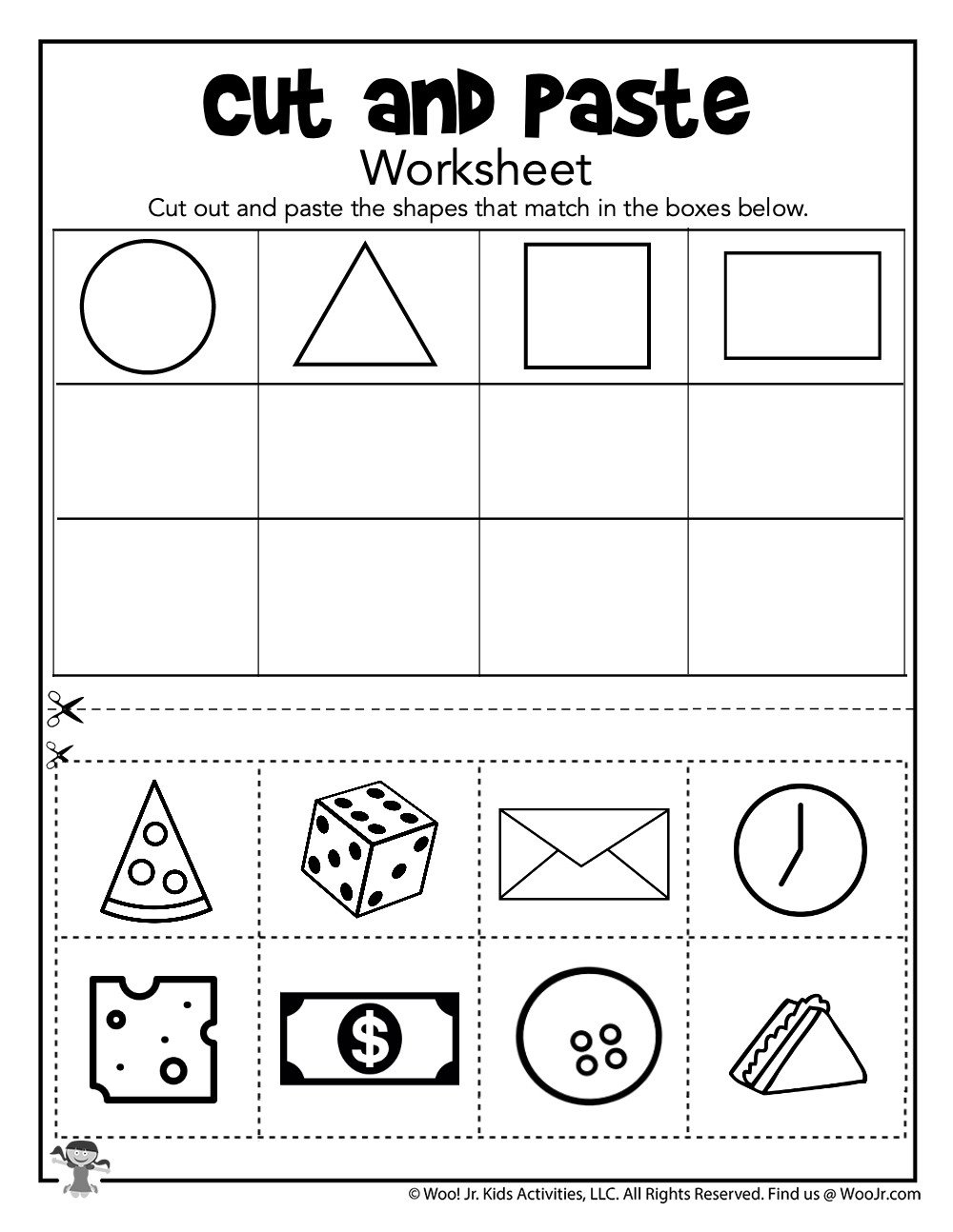 Cut and Paste Shape Sorting Worksheet