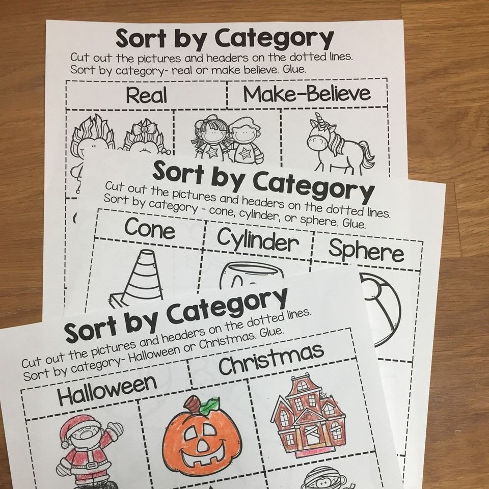 Sorting Shapes Worksheets First Grade sort by Category sorting Printables for Prek Kindergarten