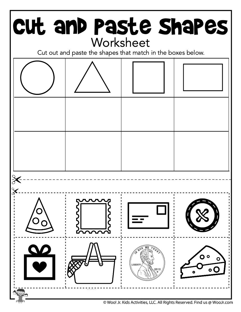 Sorting Shapes Worksheets Shape sorting Cut and Paste Printable