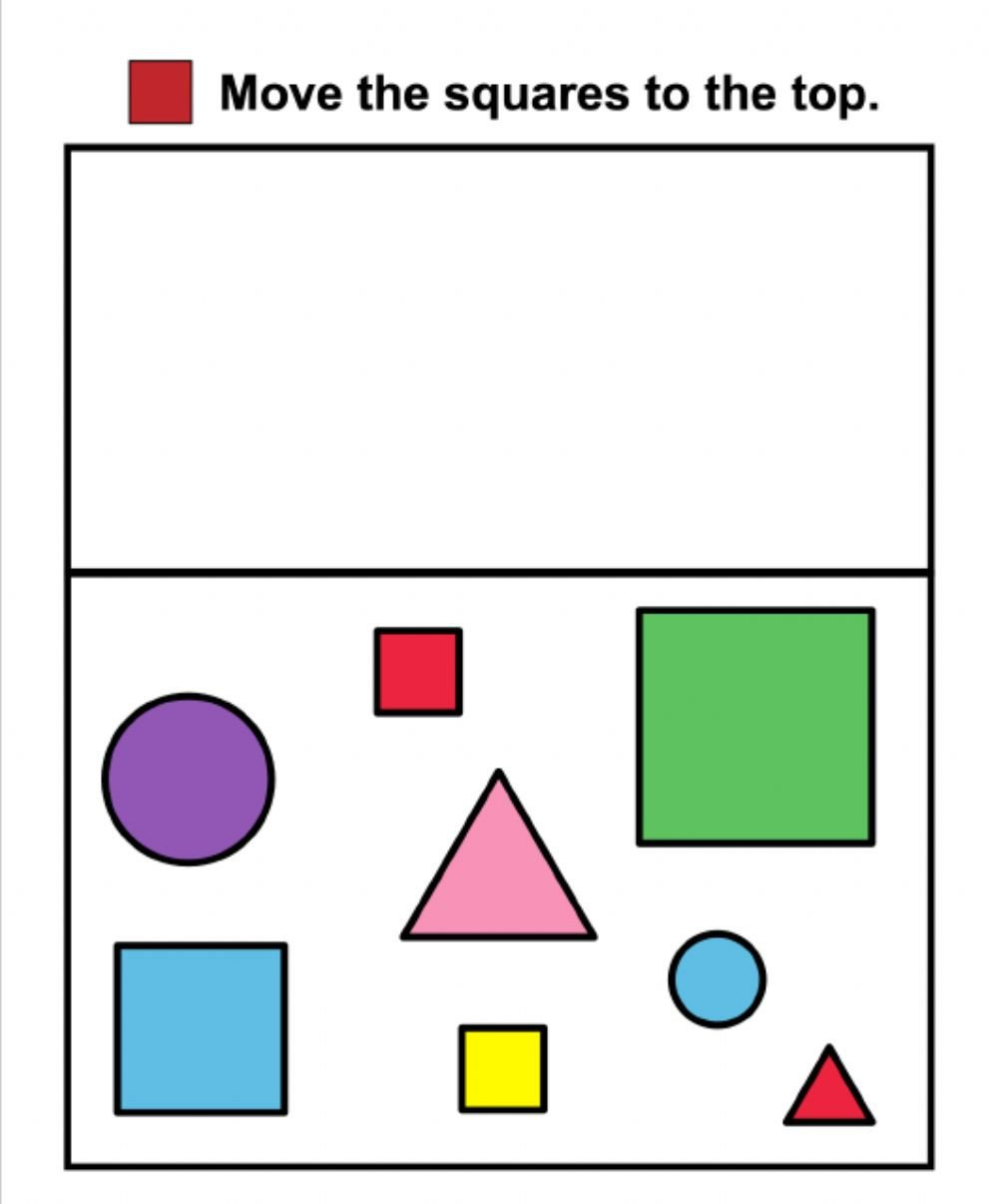 Sorting Shapes Worksheets Shape sorting Squares Interactive Worksheet